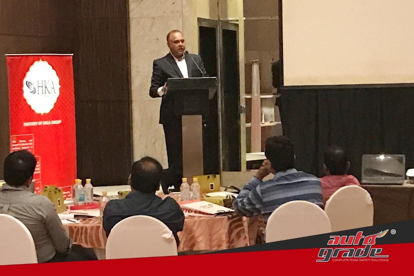 Mr. Mohammed Ashraf, the MD of Autograde, addressing distributors at Autograde's annual All India Distributers Meet conducted in Mumbai.